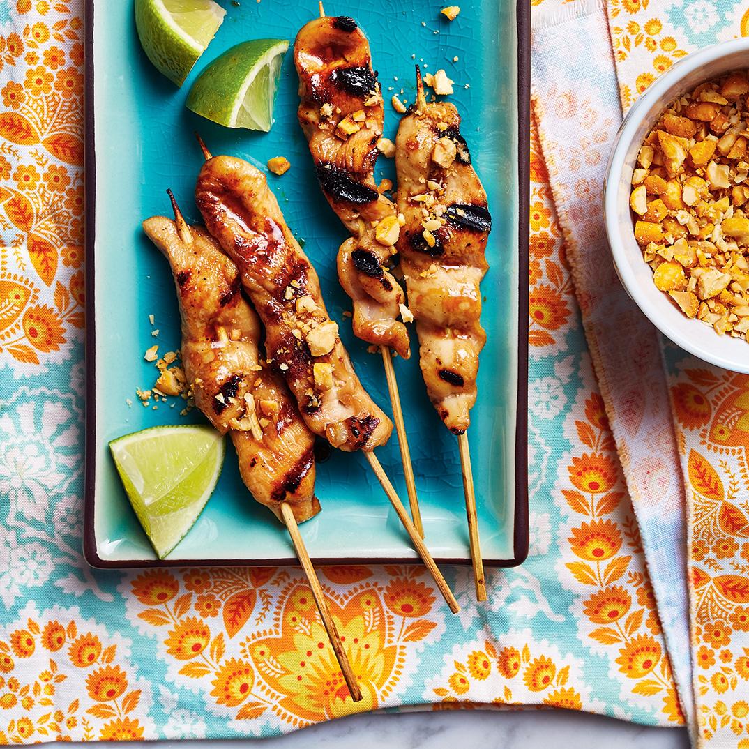 Brochettes de poulet aux arachides barbecue