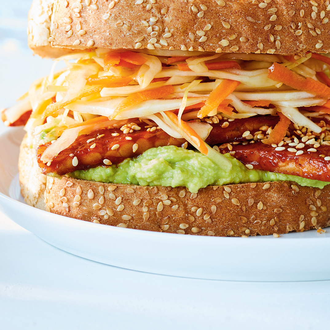 Barbecue Tempeh Sandwiches with Coleslaw