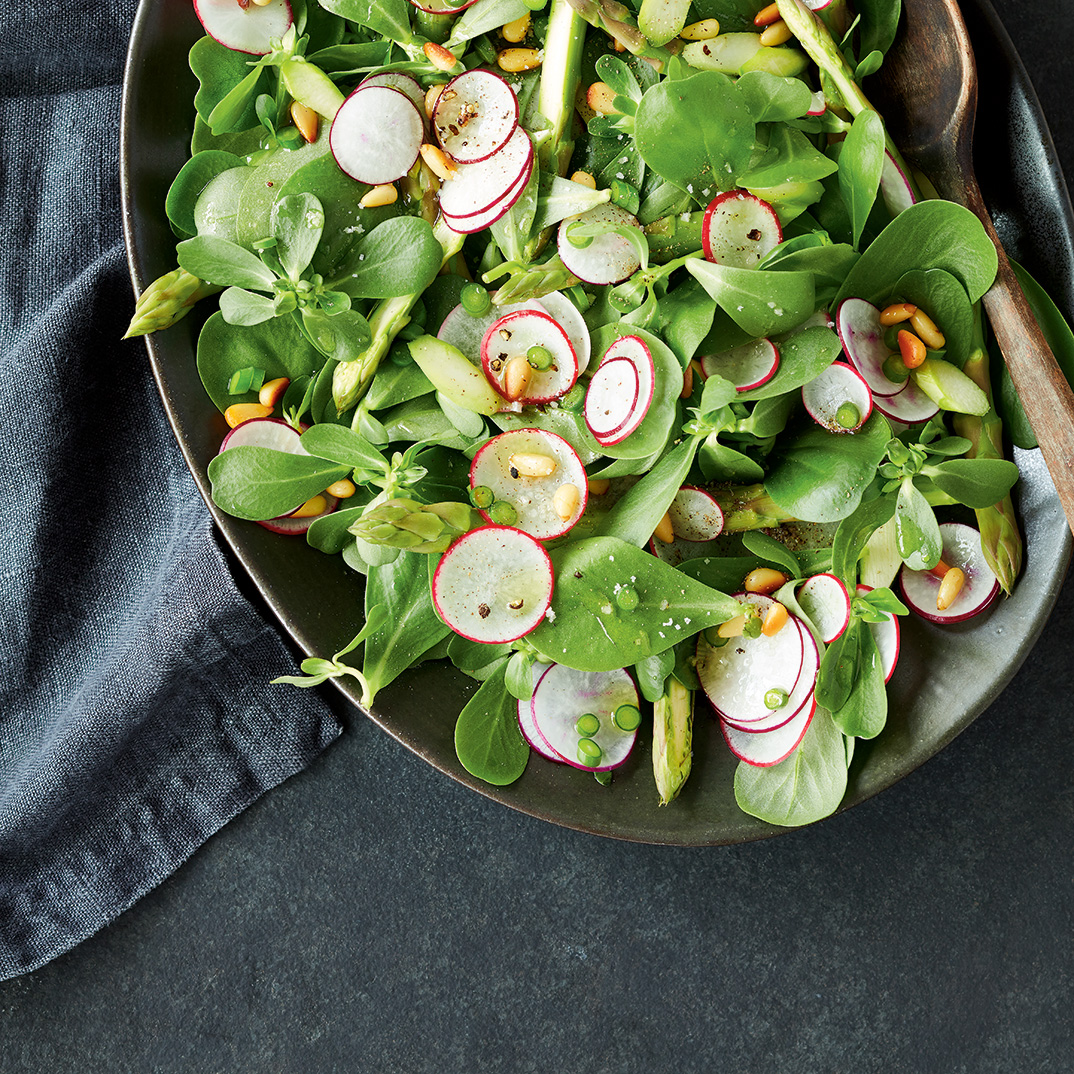 Spring Salad with Garlic Scape Dressing