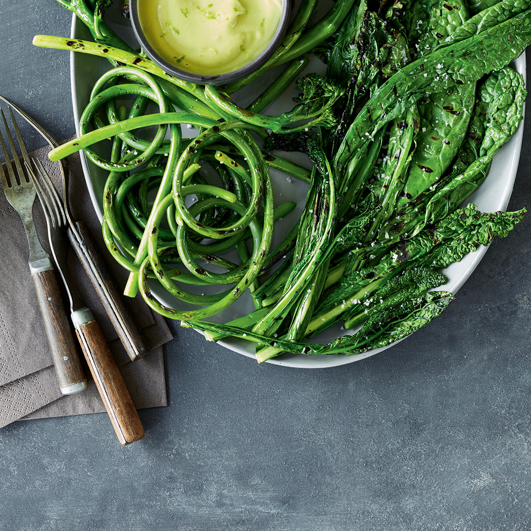 Grilled Green Vegetable and Garlic Scape Platter with Avocado Dip