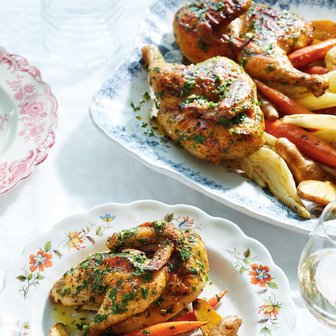 Poulets de Cornouailles grillés au fenouil et au citron