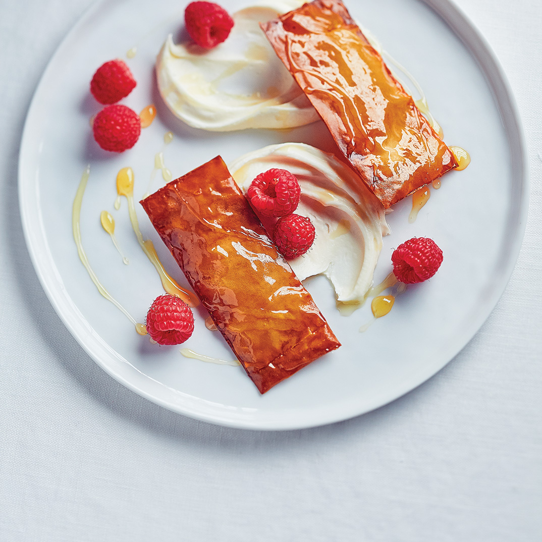 Raspberry and Mascarpone with Phyllo Puffs