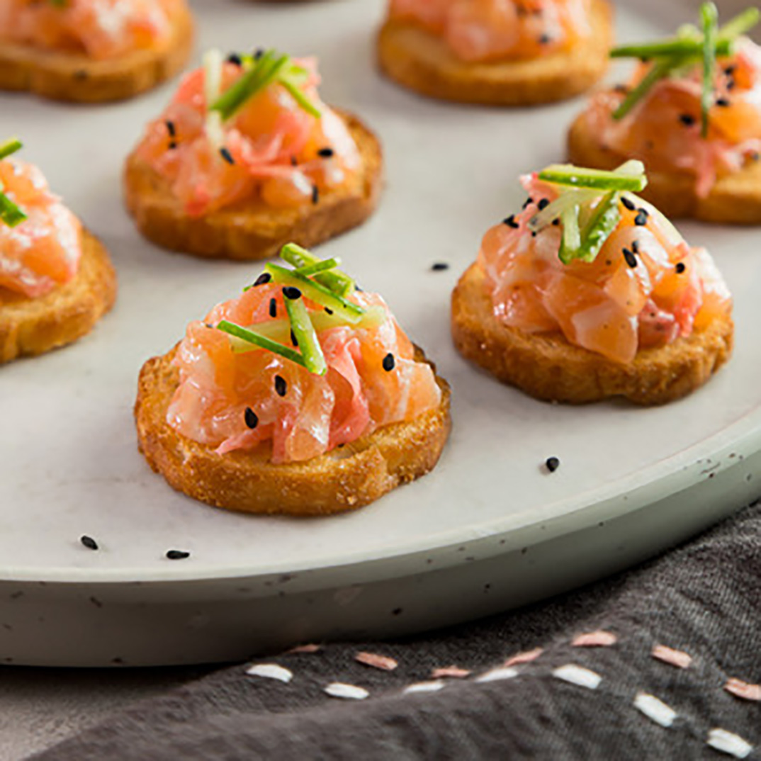 Salmon Tartare and Pickled Ginger Canapés