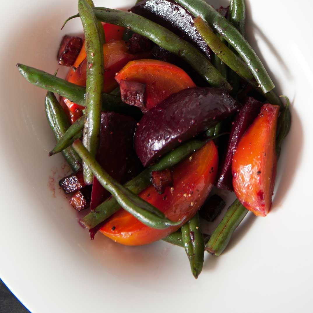 Warm Beet Salad with Bacon and Green Beans
