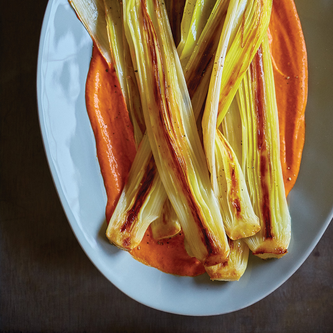Roasted Leeks with Romesco Sauce