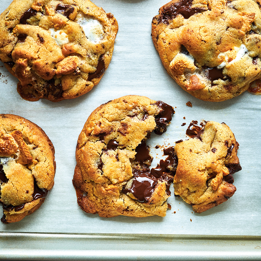 Chewy Brown Butter S'mores Cookies