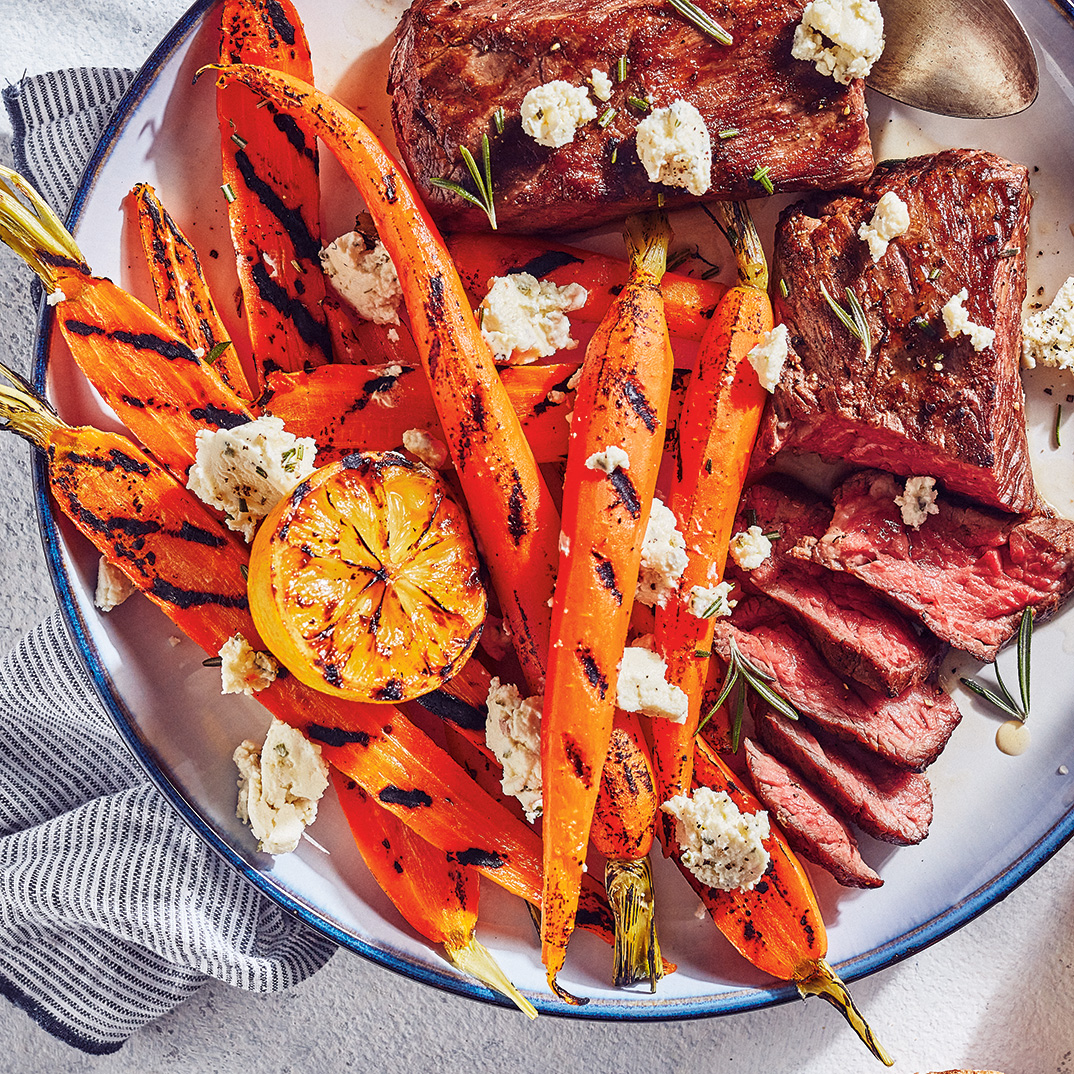 Sous Vide Flap Steak with Grilled Carrots and Herbed Fresh Cheese