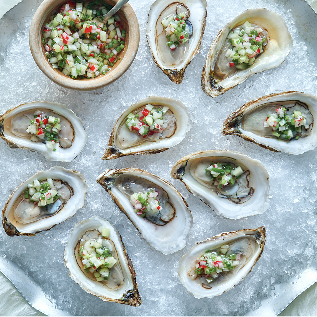 Oysters with Maple-Vegetable Mignonette