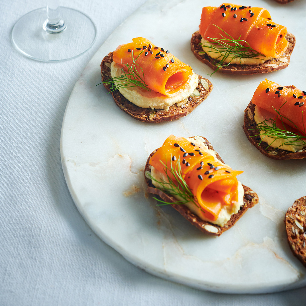 Canapés with Marinated Carrots and Cashew Spread