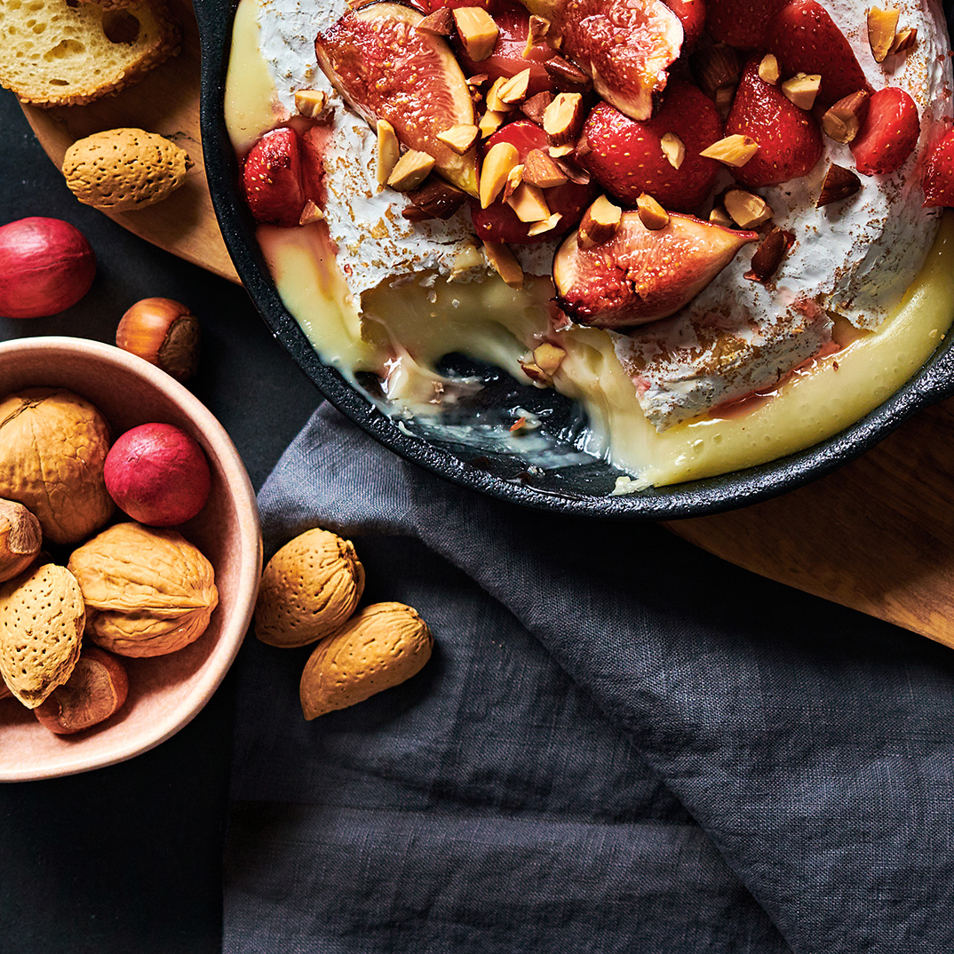 Warm Brie with Strawberries, Figs and Almonds