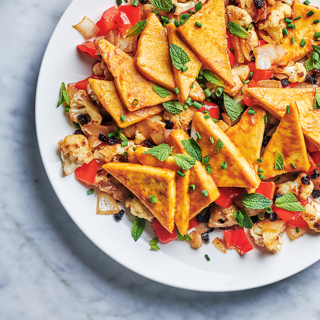 Tofu with Mustard and Pan-Roasted Vegetables with Garam Masala