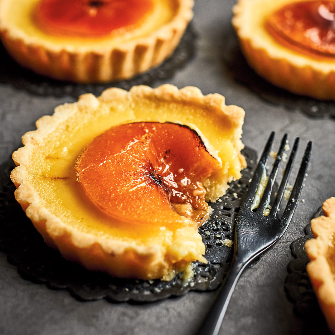 White Chocolate, Macadamia Nut and Persimmon Tartlets