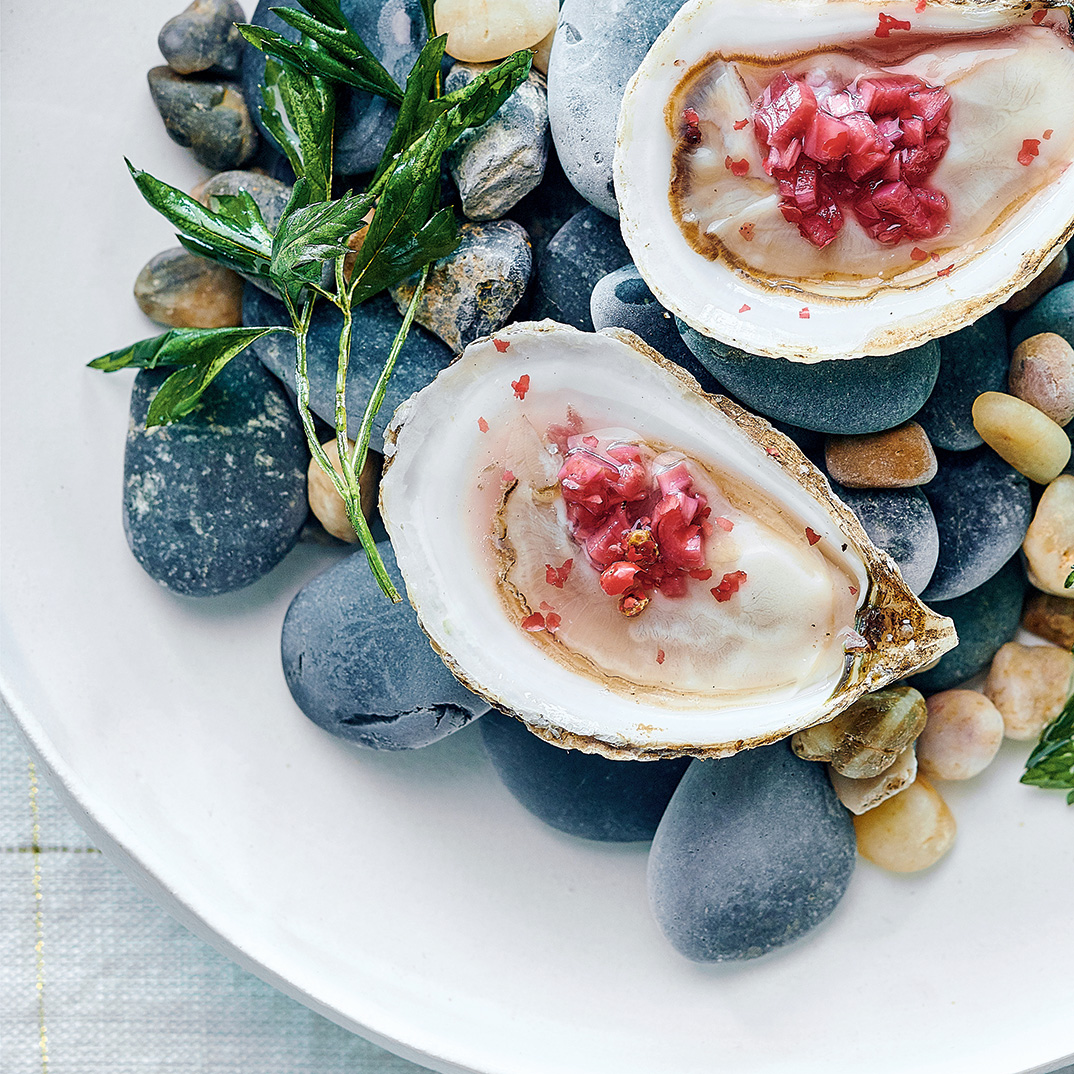 Oysters with Pomegranate and Pink Pepper Mignonnette