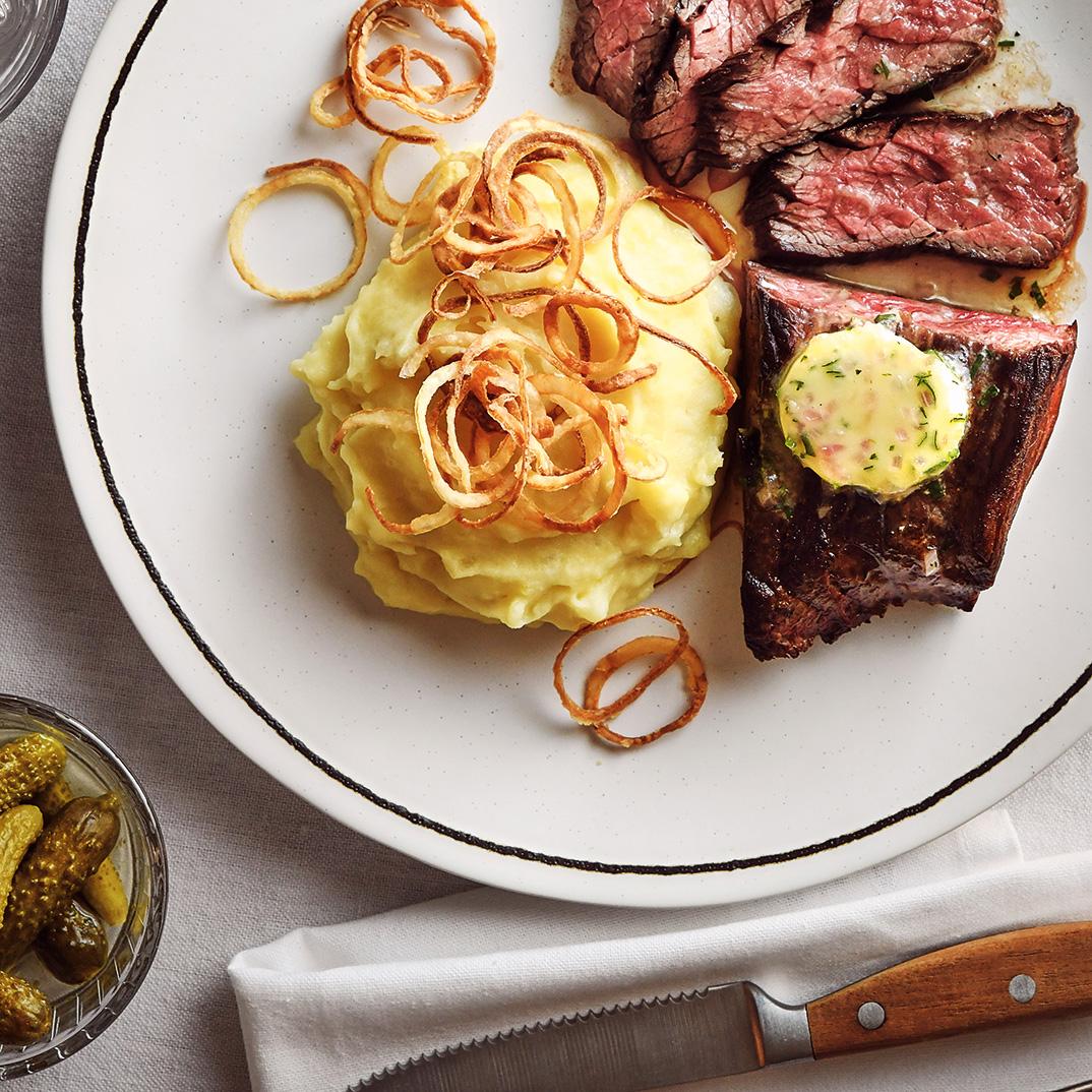 Flap Steak with Shallot Butter