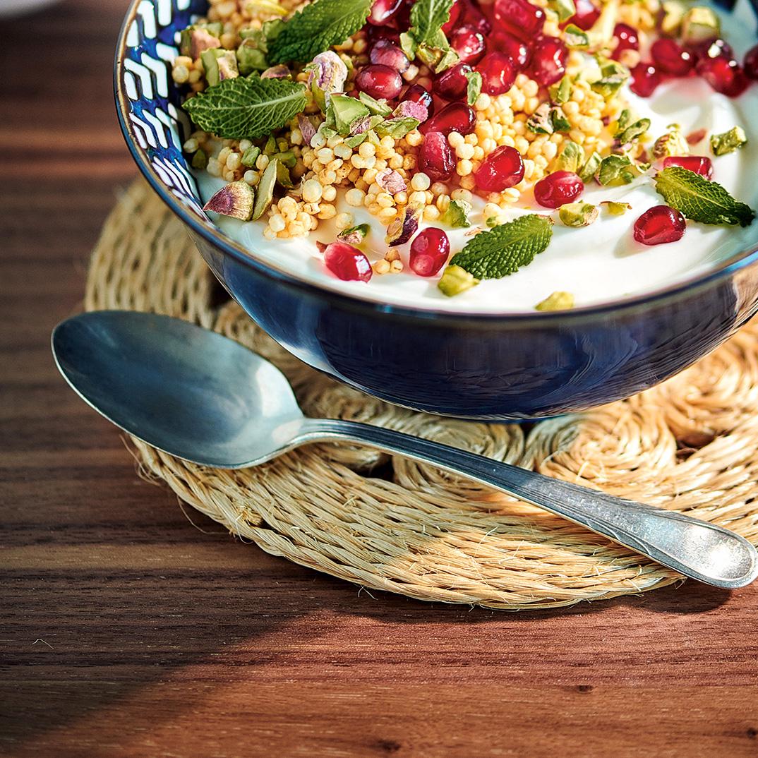 Vanilla Yogurt Bowls with Honey Puffed Quinoa, Pomegranate and Mint