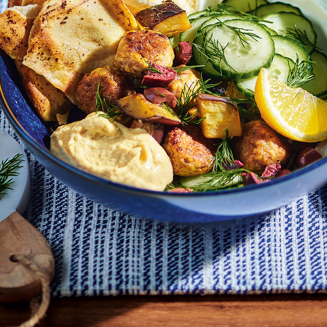 Chicken and Roasted Eggplant Bowls with Sumac Pita Chips and Yogurt