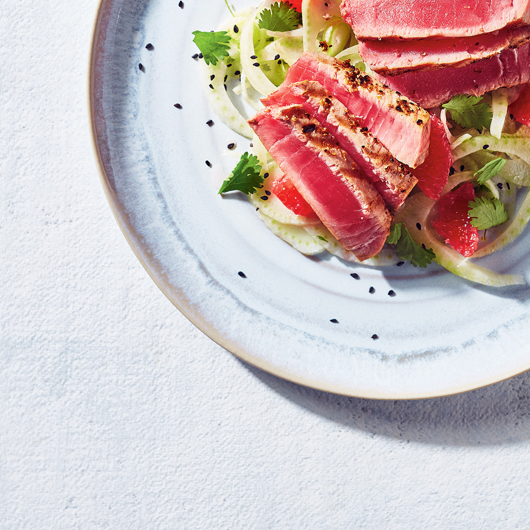 Sous Vide Tuna Confit with Fennel and Grapefruit Salad