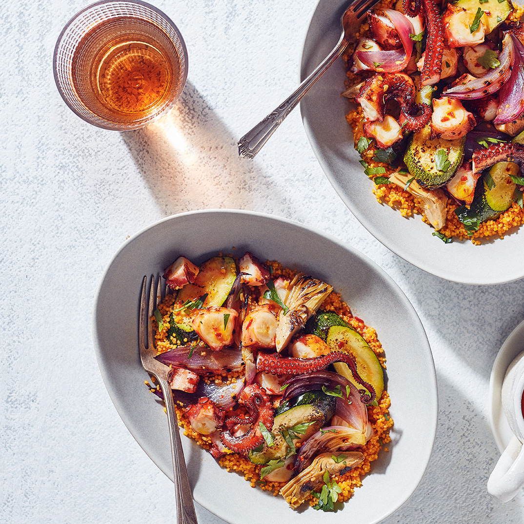 Grilled Octopus and Vegetable Salad with Carrot Juice Couscous