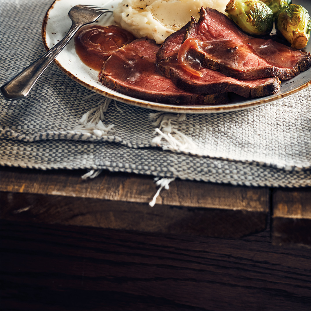 Spiced Roast Beef with Brussels Sprouts and Red Wine Sauce