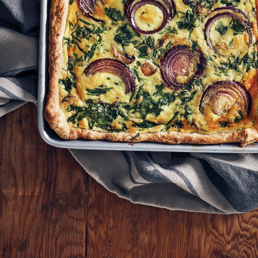 Caramelized Onion, Mushroom and Spinach Quiche