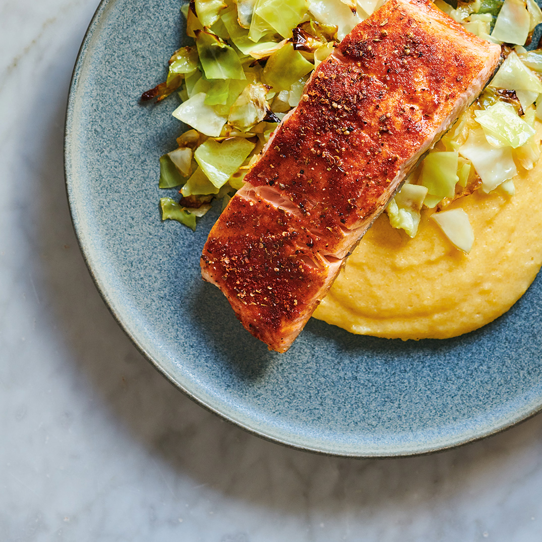 Cajun-Spiced Salmon and Cabbage with Polenta