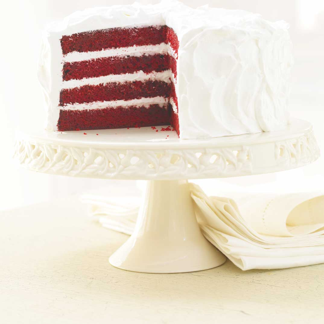 Red Velvet Cake with Italian Meringue Frosting