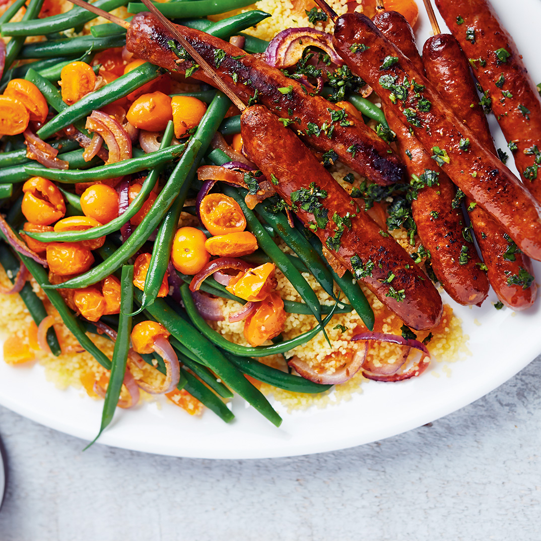 Warm Couscous Salad with Green Beans and Merguez Skewers