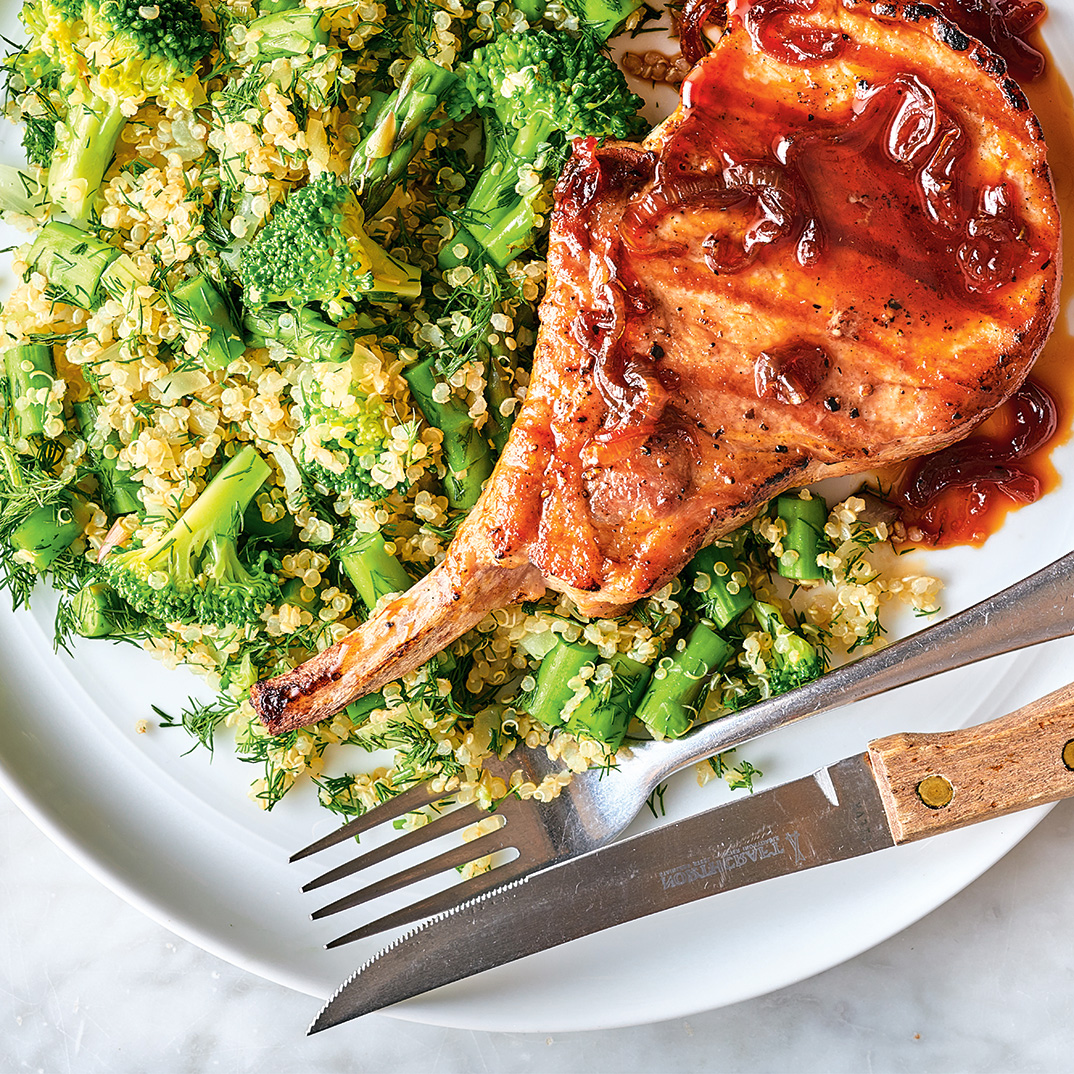 Grilled Pork Chops and Quinoa with Broccoli and Asparagus