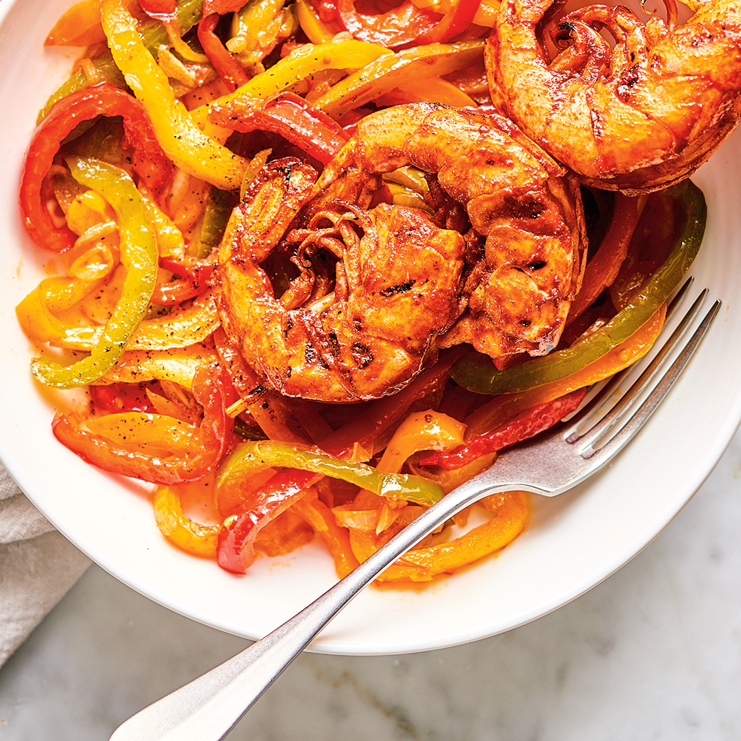Shrimp Skewers with Piperade