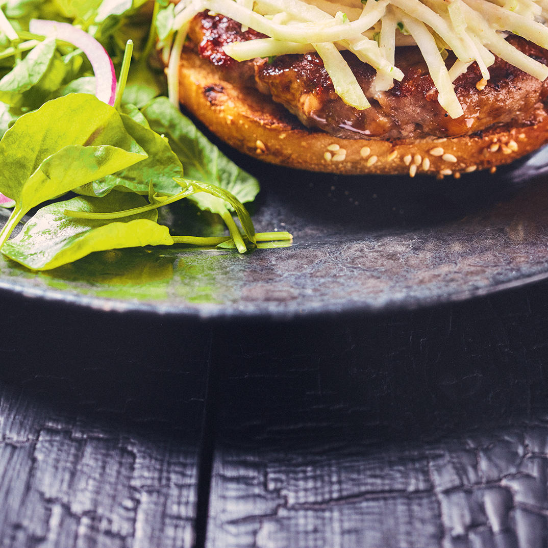 Bison Bacon Burgers with Celery Remoulade