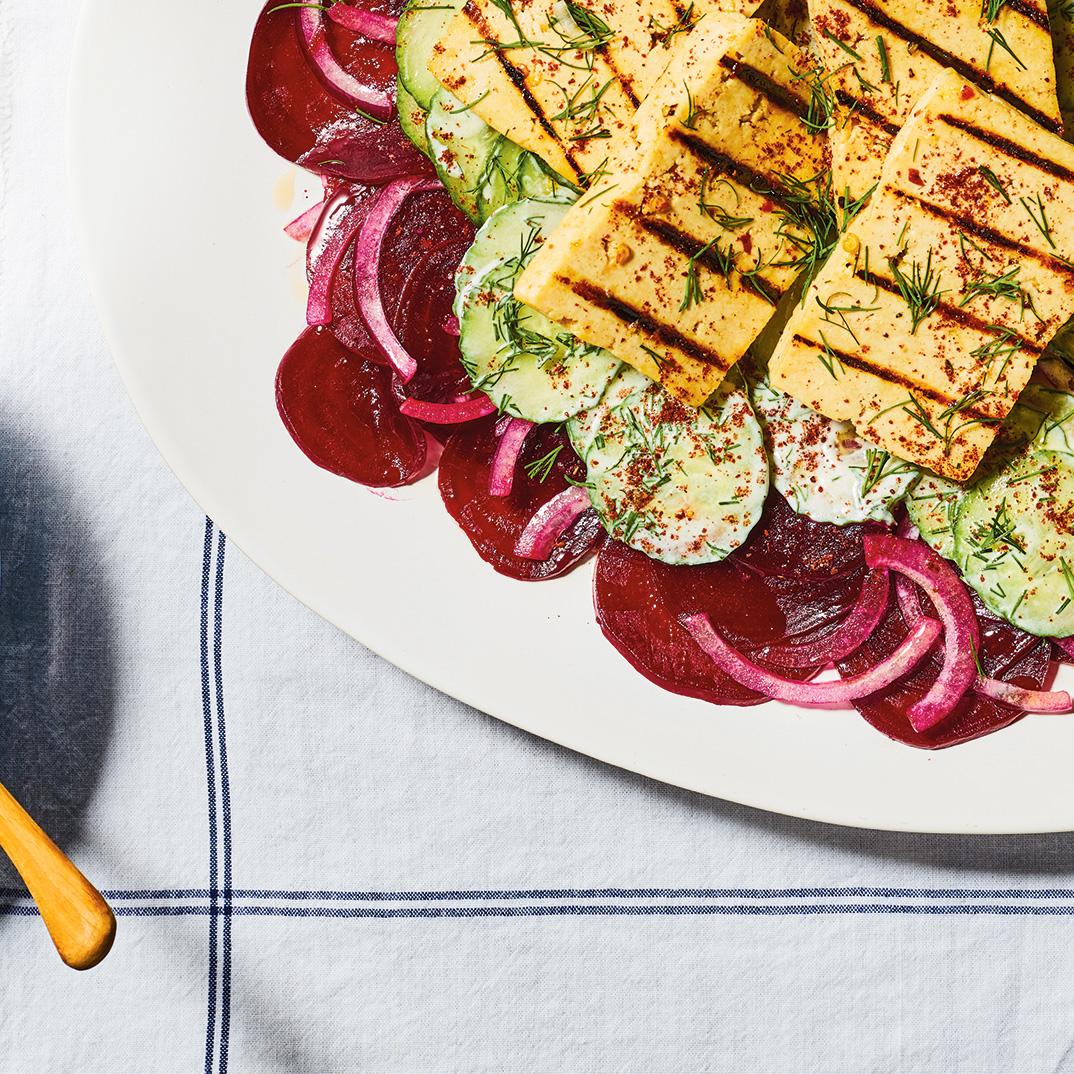 Beet Salad with Grilled Tofu and Greek Yogurt Dressing