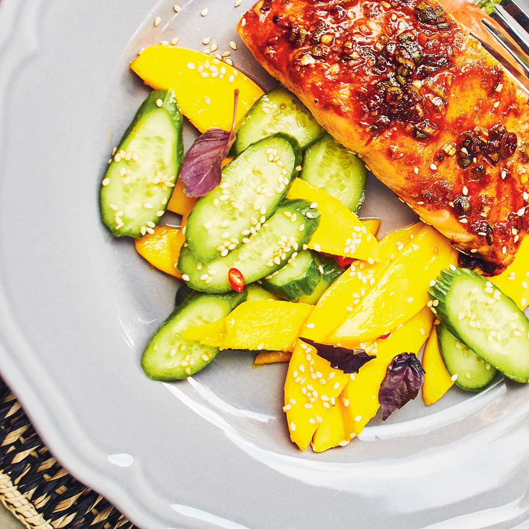 Thai Grilled Salmon with Mango and Cucumber Salad