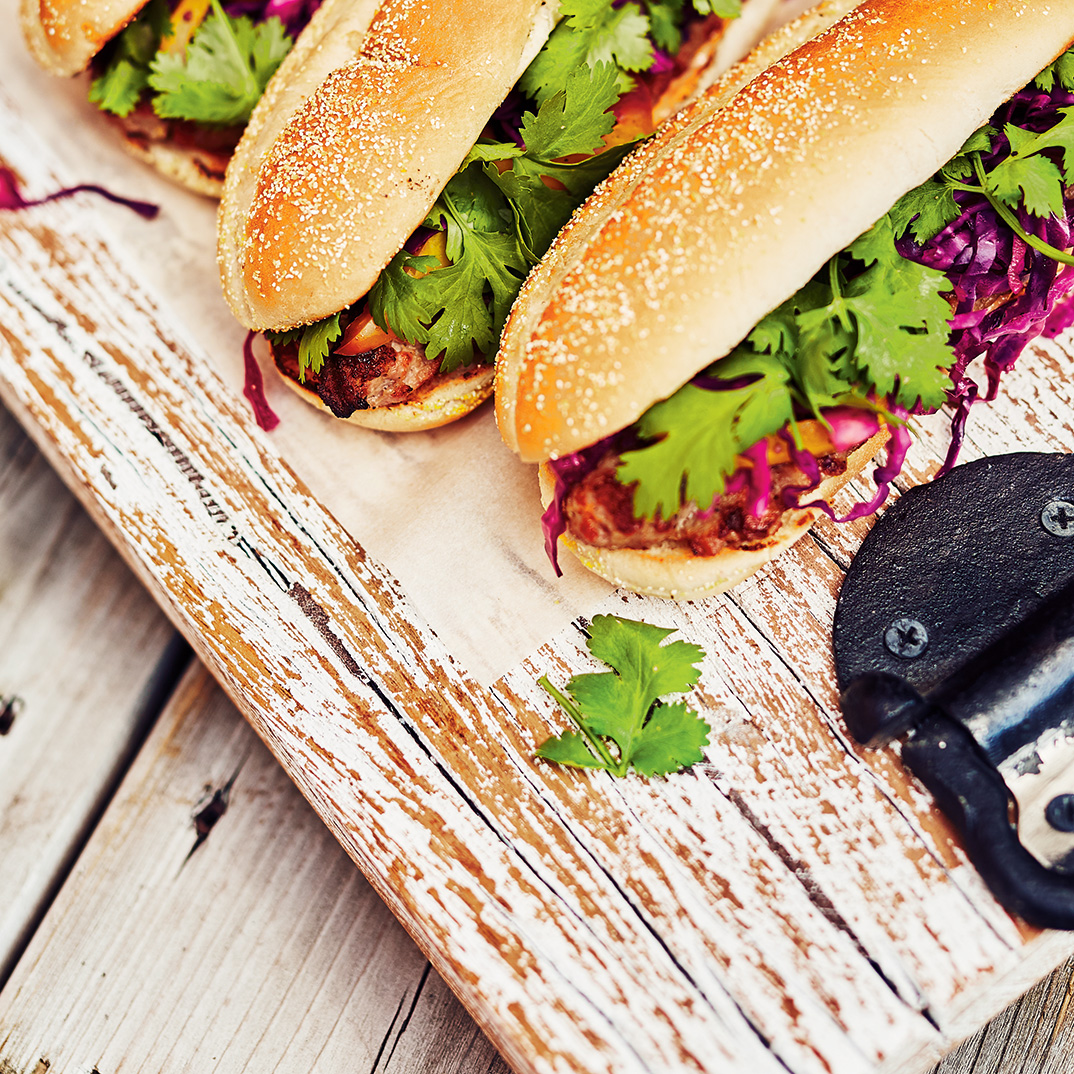 Hot Dogs with Braised Cabbage and Spicy Mayonnaise
