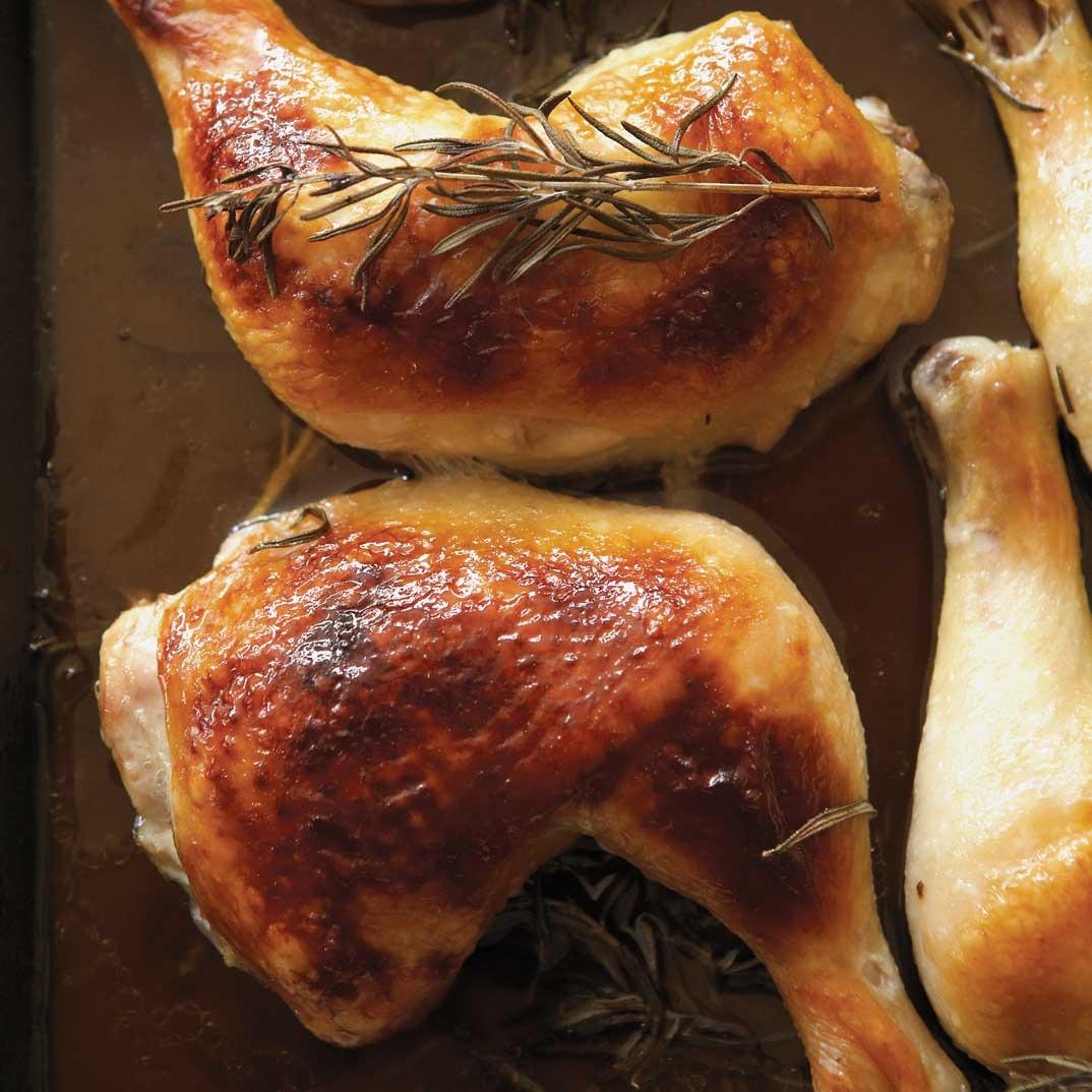 Cuisses de poulet au miel et au romarin