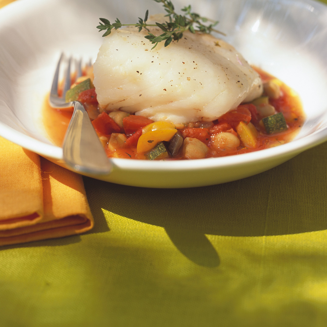 Fish on Chickpea Ratatouille