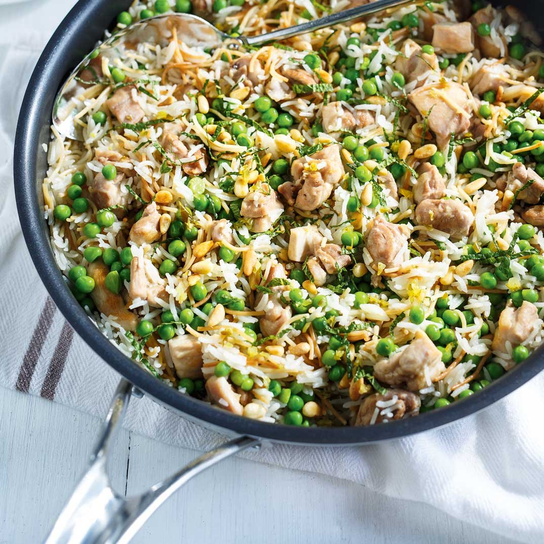 Vermicelli Rice with Chicken and Peas
