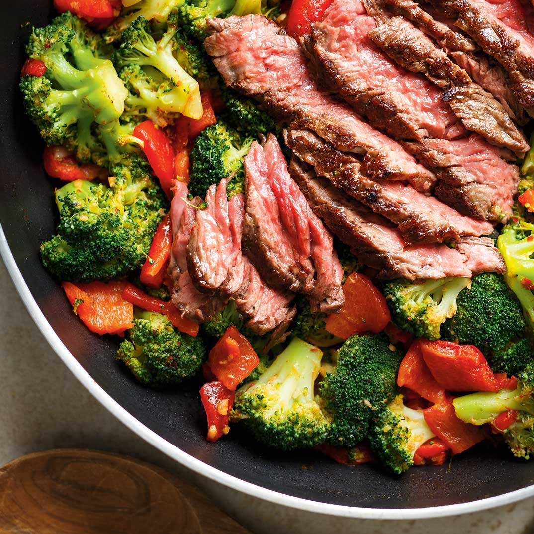 Grilled Flap Steak with Broccoli and Bell Peppers