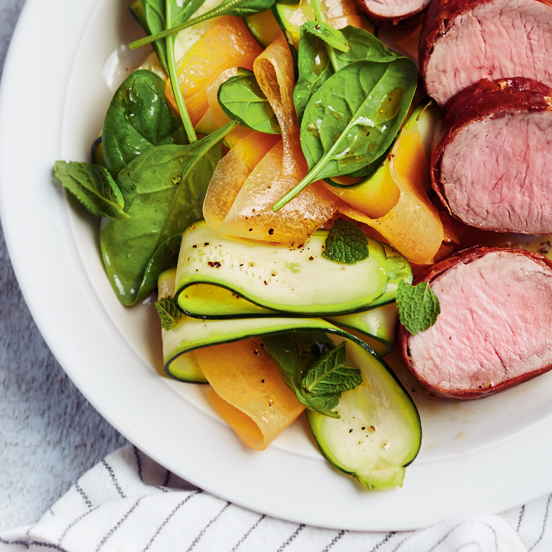 Pork and Prosciutto Medallions with Zucchini-Mint Salad
