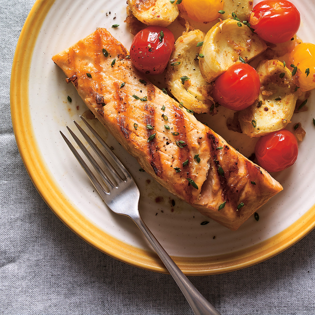 Grilled Salmon with Tomato Confit and Artichokes