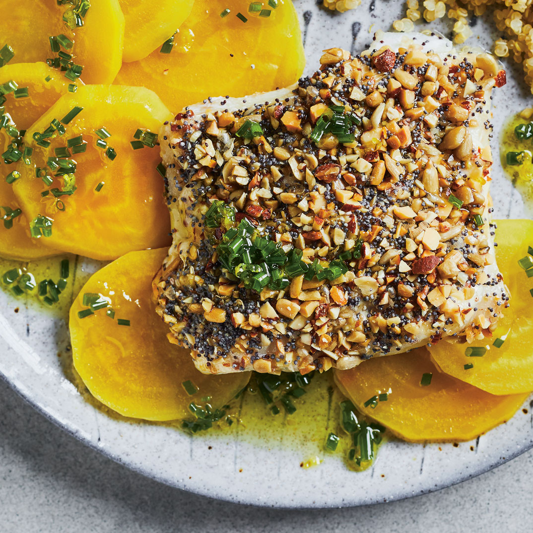 Almond-Crusted Fish with Quick Yellow Beets and Chive Oil