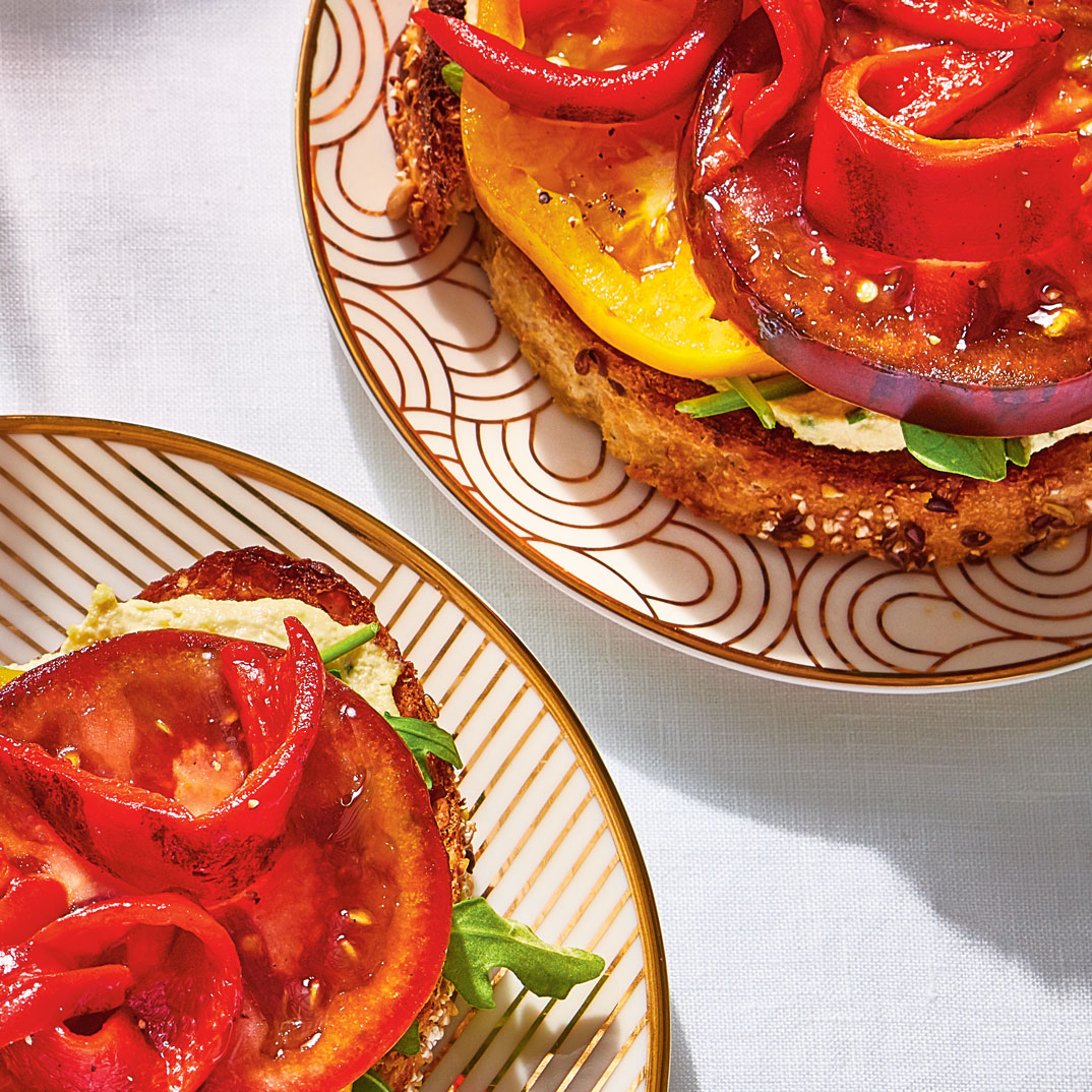 Open-Faced Sandwiches with Cashew Spread, Tomatoes and Grilled Peppers