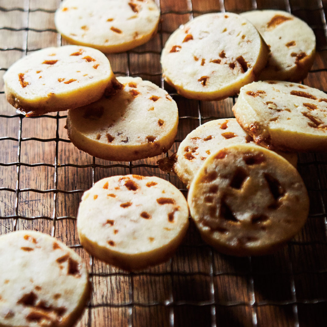 Salted Caramel and Pecan Shortbread Cookies