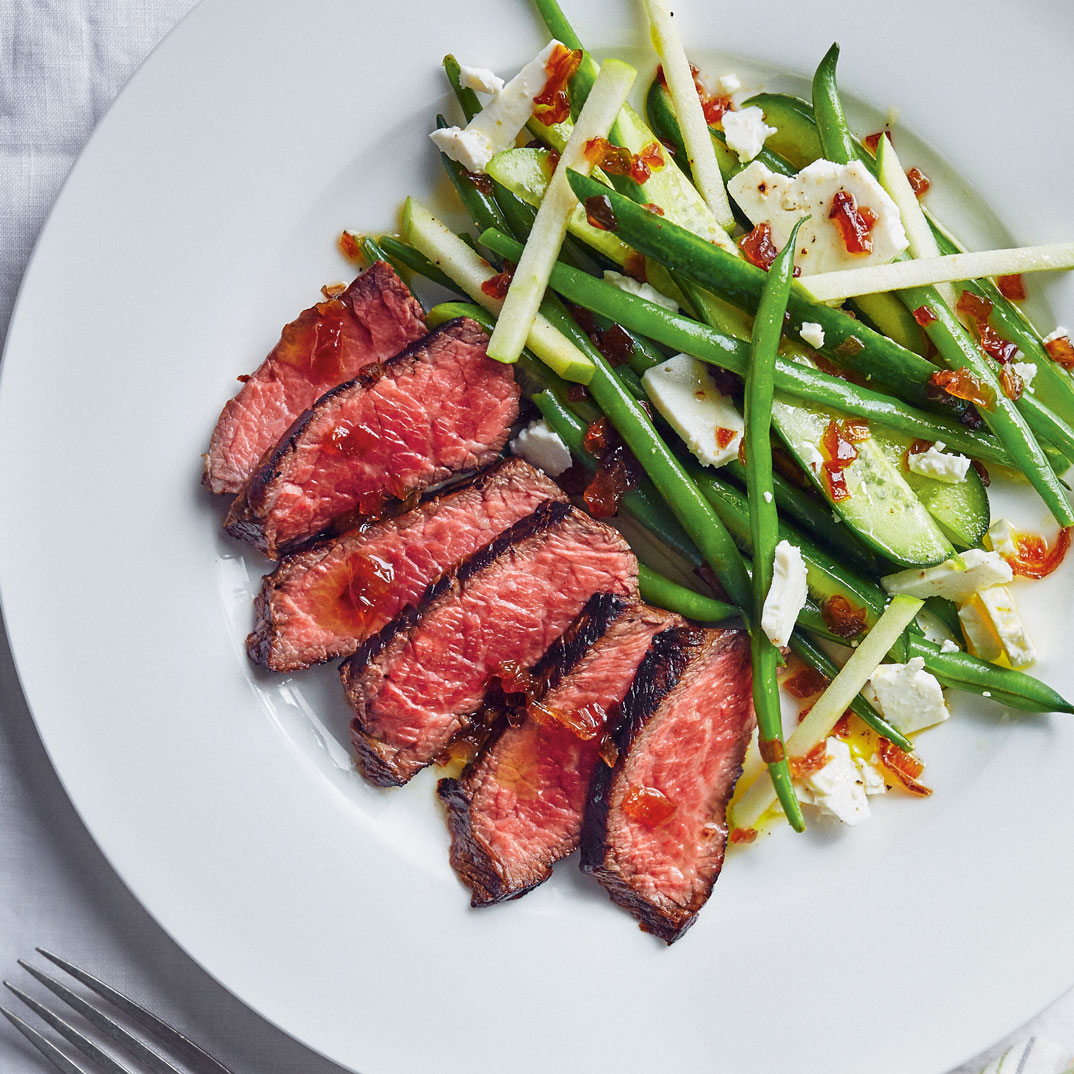 Grilled Beef with Green Bean Salad and Onion Dressing