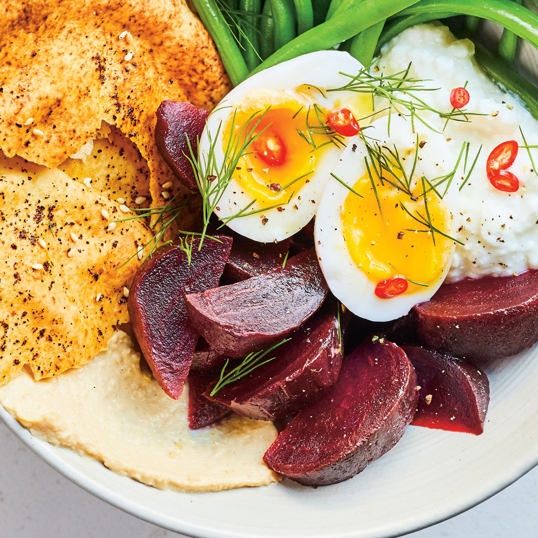 Lunch Bowl with Egg, Vegetables, Hummus and Toasted Pita