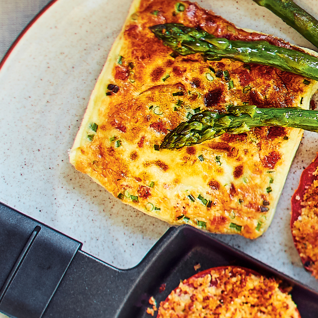 Raclette Cheddar and Chorizo Omelette