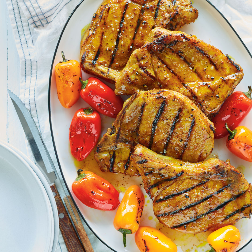 Grilled Pork Chops with Turmeric and Honey