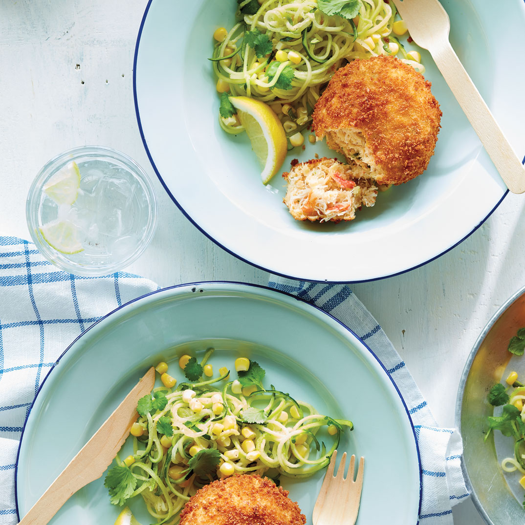 Crab Cakes with Zucchini and Corn Salad