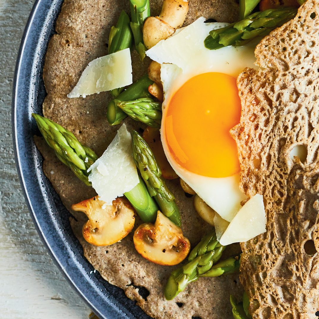 Gluten-Free Buckwheat Crepes with Mushrooms and Asparagus