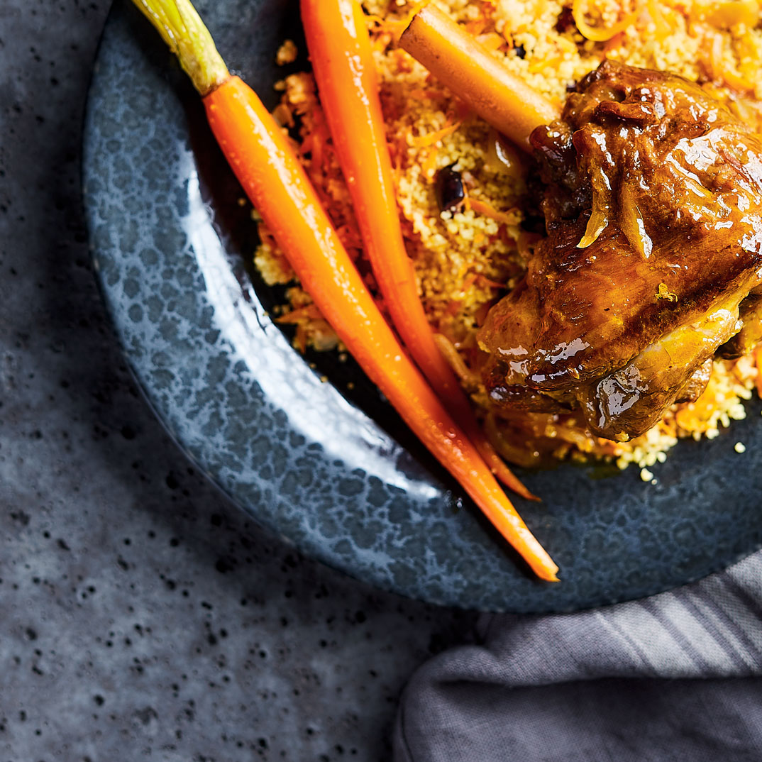 Spiced Lamb Shanks with Carrot Juice
