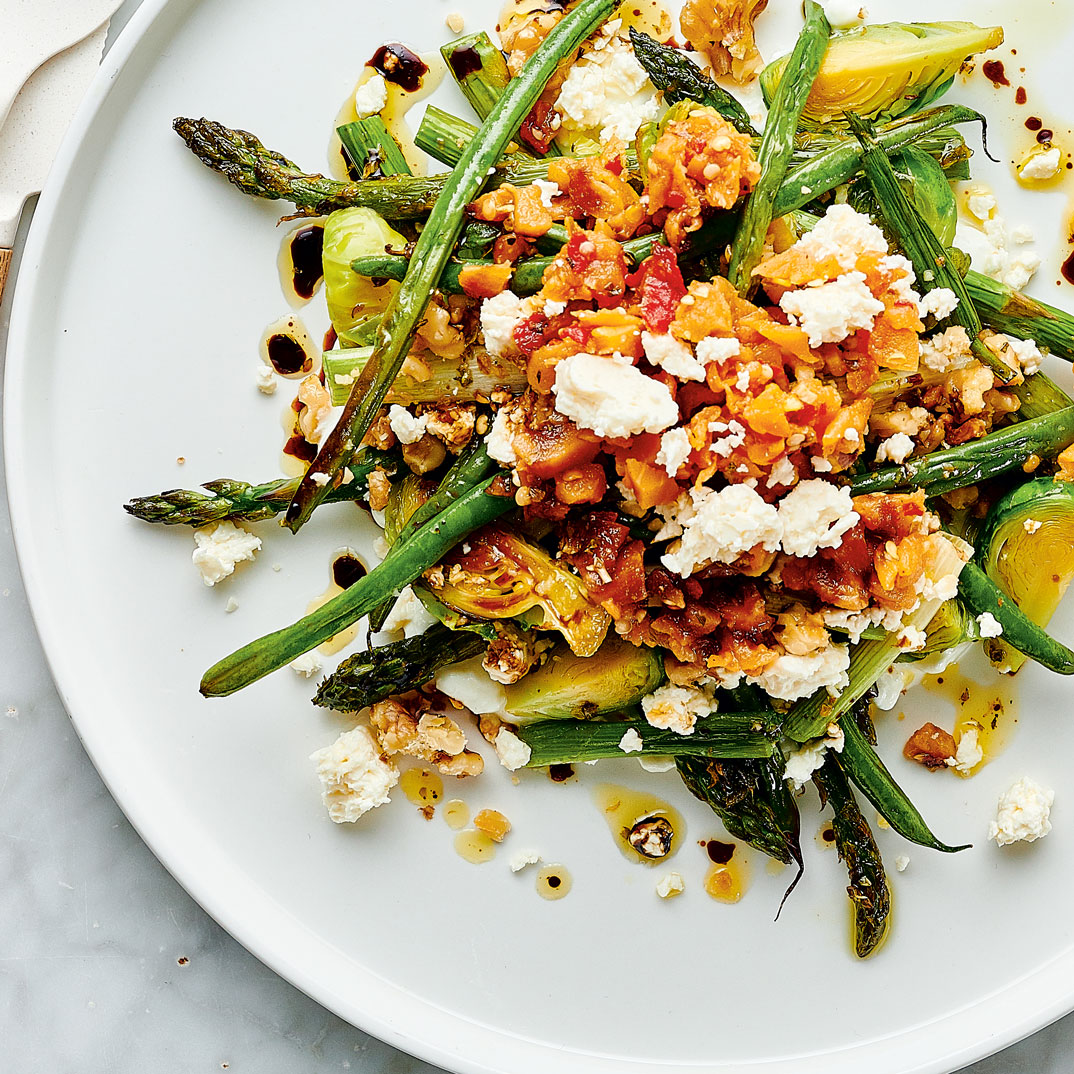 Meal-Sized Roasted Vegetable and Feta Salad